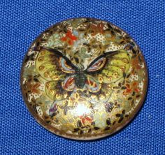 Antique Japanese Meiji Satsuma Porcelain Button with Butterfly c.1800's
