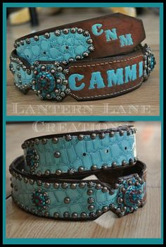 Custom belt in patent turquoise, painted name and initials