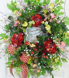 XL Gorgeous Full Spring Summer Outdoor Wreath by LadybugWreaths, $189.97 http://ladybugwreaths.com/doorwreaths/wreaths-for-sale-2/