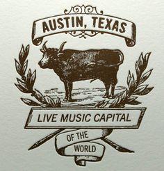 Austin Live Music Cow Card  so cute!