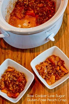 Slow Cooker Recipe for Low-Sugar and Gluten-Free Peach Crisp; easy to make and delicious!  [from Kalyn's Kitchen] #SlowCookerRecipe  #GlutenFreeRecipe