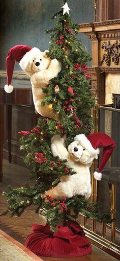 Adorable Bears Climbing the Christmas Tree  (sorry no link)
