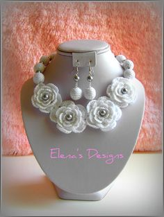 Crochet Necklace White Bridal Floral Silver Grey