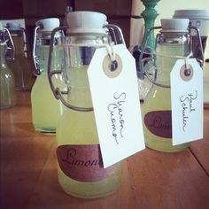 Homemade limoncello wedding favours