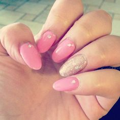 Silver with pink stiletto-almond nails