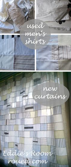 mens shirts recycled into curtains, by Eddies Room, roued.com