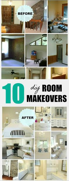 10 inspiring DIY room makeovers done on a small budget! So many great ideas! Check out the before and afters! #diy #home #decor #beforeandafter #tutorial #paint