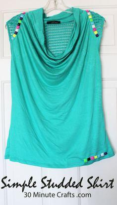 Simple Studded Shirt Tutorial