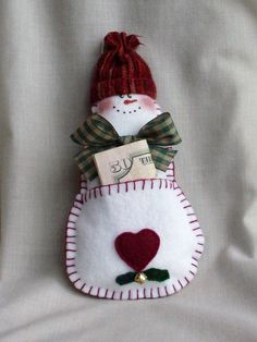 Snowman ornament gift holder.