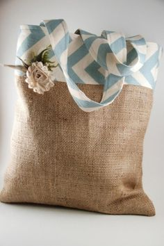 Chevron (or stripes) and Burlap bag.  For the leftover? by clarissa