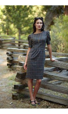 Dark Plaid Dress with Gathered Waist 3/4 Puff Sleeves $88