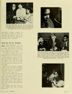 """The Ohio Alumnus, January 1960. """"Nearly 100 Countries Represented at Conference."""" """"Among the speakers were such noted personalities as Martin Luther King, who led the Montgomery, Ala., bus boycott..."""" :: Ohio University Archives"""