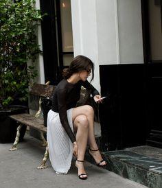 street fashion, cloth, paris chic, long skirts, black white