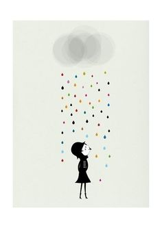 Mademoiselle under the rain print por blancucha en Etsy, $30,00