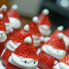 For a no-cook snack, make Santa strawberries.