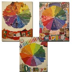 What a great color wheel lesson that ends up being a super cool piece of art! Review at beginning of year for sketchbook covers? middle school, art studios, art idea, colors, color theroy, color wheels, collag color, idea classroom, colour wheel
