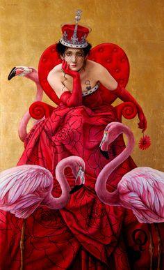 """La Reina de Corazones"" (Queen of Hearts) - Jose Louis Muñoz {contemporary artist figurative woman with swans painting} Regal!!"