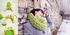 How to Make 30 Minute Infinity Scarf - Knit - you could achieve the same effect by using a set of large, sharpened dowels as knitting needles.