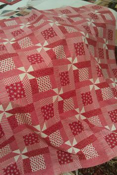 """Yummy! """"Rhonda's Red Quilt"""" by Elizabeth E of Occasional Piece-Quilt. (Perhaps a good way to get rid of some of those red 4th of July centric fabrics I have without making a 4th of July quilt!)"""