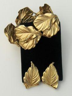 Vintage Napier Gold Leaf bracelet and matching earrings
