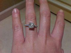 cushion cut engagement ring, pave band