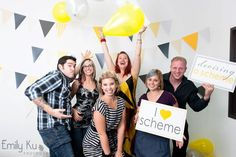 yellow and gray photobooth with balloons, photobooth backdrop, photobooth signage, photobooth ideas