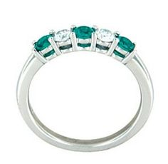 Custom Designed Five Stone Diamond & Emerald Ring