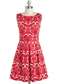 Ain't We Haute Fun? Dress in Floral Flourish. Theres no doubt about it - youre guaranteed to have a ball at tonights soiree while dressed in this floral-printed dress, which is produced in the UK by Closet! #red #modcloth