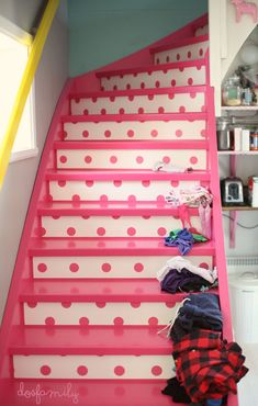 Pink polka dot stairs!