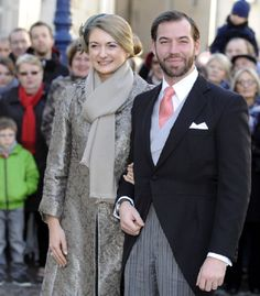 The hereditary Grand-Duke of Luxembourg, Prince Guillaume (R), and his wife Belgian Countess Stephanie de Lannoy pose in front of the Saint Epvre Basilica before the wedding of Archduke of Austria on 29 Dec 2012