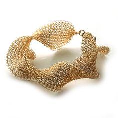 gold crochet bracelet..
