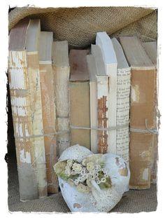 romantic, distressed vintage books display.