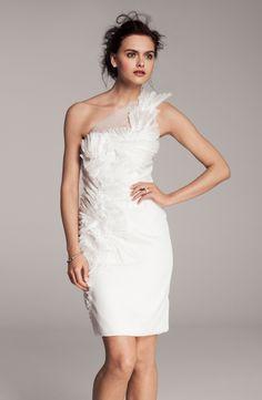Kathy Hilton One Shoulder Tulle Overlay Dress