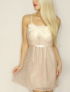 Nude Beige Lace and Silk Slip Dress by dahlnyc on Etsy