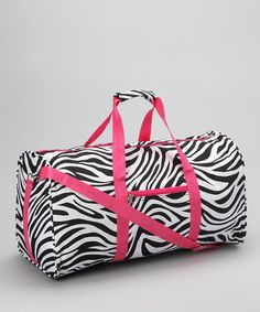 Take a look at this Pink Zebra Duffel Bag by Dress Up Dreams Boutique on #zulily today!