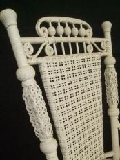 Origin of Early American Wicker: Early American Bedroom Chair. It has been established that one of thefirst pieces of wickerwork found in America, was a child's cradle said to have been brought in by the Pilgrims who eventually settled in the new land. Other wickerwork, such as baskets, and cradles were produced in colonial America, but the use of wicker for decoration and furniture had not yet been explored. The influece of the China trade, however, dramatically affected the American wicker industry. Traders brought back from the Chinese fantail or peacock chairs as novelty items to America and England. However, most importantly was the rattan being imported to England.There the shiny skin was being stripped off and the reed used to weave seats and backs. At that time, rattan was used as dunnage to hold ships' cargo in place. The stuff was the dumped onto American docks and left to lie until, one day, a young grocer named Cyrus Wakefield took an armfulof it home and wrapped the frame of a rocking chair with it. Here was the begining of the great American wicker furniture industry. Cyrus Wakefield was among the first to recognise the potential of this new enterprise. Wakefied began importing stripped cane of the types most in demand and had soon established himself as the foremost wicker supplier in America. By 1855 he established a rattan furniture company in South Reading (later to be renamed Wakefield), Massachusetts, and was on the way to becoming one of the most prominent American manufacturers of wicker furniture.