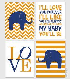 Navy Blue Orange Nursery Chevron Elephant PERSONALIZE by ofCarola, $50.00