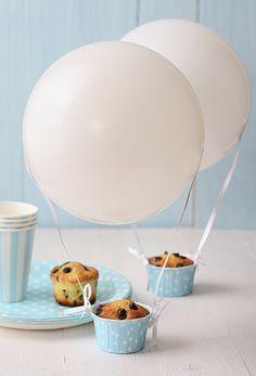 hot air balloon muffin, smart idea for a party!  #shopfesta