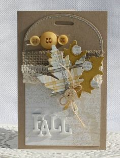 Fall card with tag...luv the die cut leaf from plaid with buttons, diecuts, burlap and stitching...