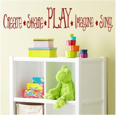 Create Share Play Imagine Sing- childrens Vinyl Lettering  words wall quotes graphics Home decor playroom  kids bedroom. $12.00, via Etsy.