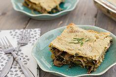 vegan mushroom and kale lasagna with rosemary cashew sauce