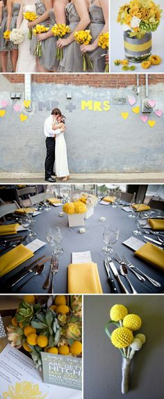 another yellow and grey wedding, grey table cloth with yellow napkins, I think so