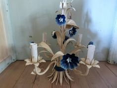 Antique French toleware chandelier lamp w blue flowers tole light lighting ceiling fixture romantic shabby chic French boudoir decor light