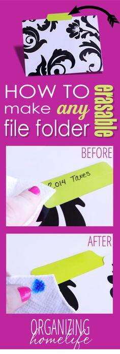 DIY Erasable File Folder Label - genius!