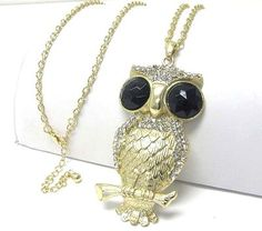 BIG Owl Necklace Black Clear Crystals Gold Tone 30 in LONG
