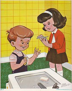vintage illustration - kids hygiene