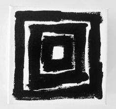 TUNNEL 4 x 4 inch Canvas by Lynda Black / polkadottydolls on ETSY - Black and White Abstract Art Painting Modern Art Abstract Painting OOAK Square Art Painting