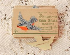 vintage dennison bird seals. how beautiful.