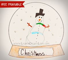 Printable Snow Globe Craft | LearnCreateLove.com