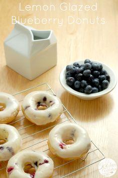 Lemon Glazed Blueberry Donuts l www.a-kitchen-addiction.com donut recipes, blueberry lemon donuts, blueberri donut, breakfast, lemon glaze, mini donuts, blueberries, glaze blueberri, best donut recipe